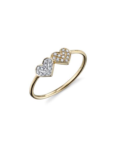 Sydney Evan 14k 2-Tone Gold Double Diamond Heart