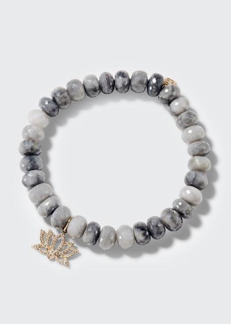 14k Silverite & Diamond Lotus Bracelet