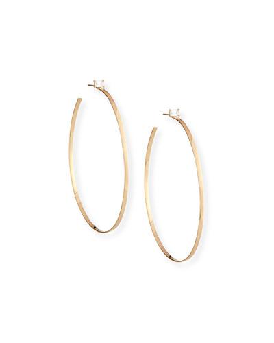 14k Gold Hoop Earrings with Emerald-Cut Diamond