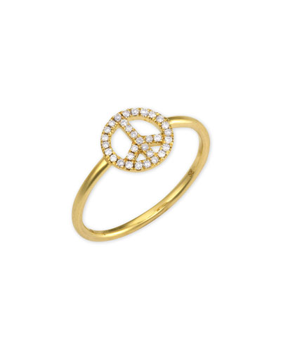 14k Gold Diamond Peace Sign Ring, size 6.5