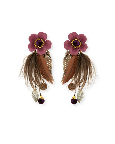Laelia Clip-On Earrings w/ Feathers