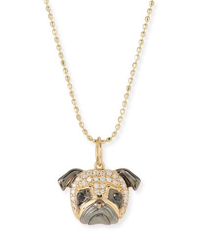14k White Diamond Pug Pendant Necklace