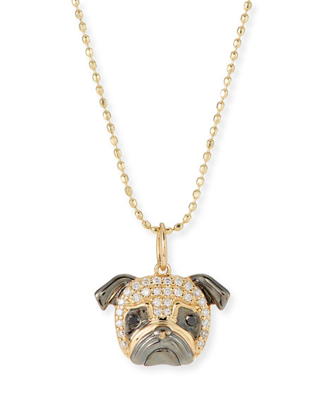 SYDNEY EVAN 14K WHITE DIAMOND PUG PENDANT NECKLACE