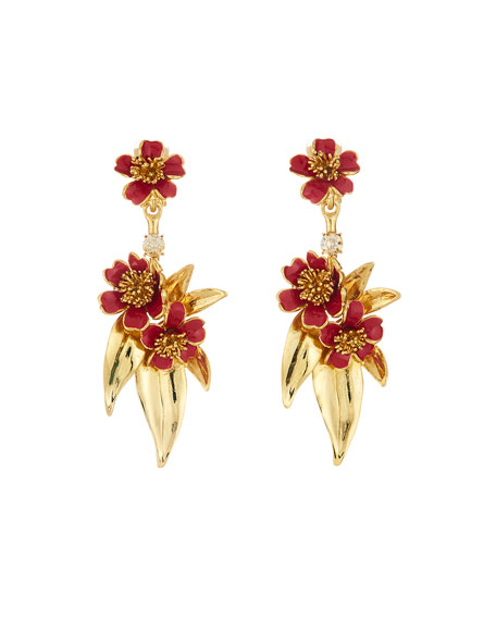 Oscar de la Renta Delicate Flower Drop Clip-On