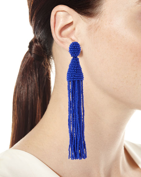 Long Beaded Tassel Clip-On Earrings, Blue
