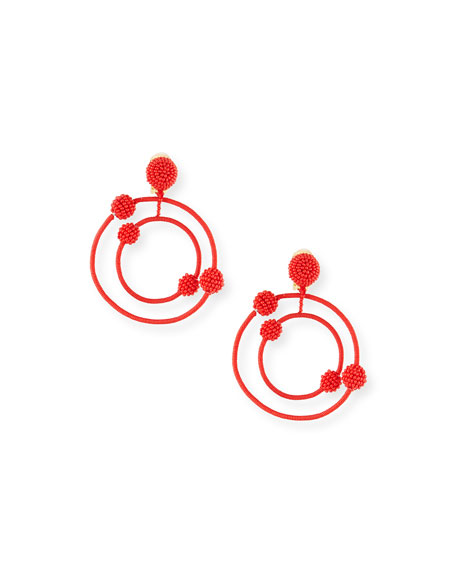Oscar de la Renta Beaded Orbits Clip-On Hoop