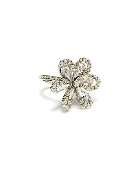 Delicate Flower Ring W/ Crystals in Silver