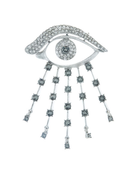 Oscar de la Renta Crystal Eye Brooch