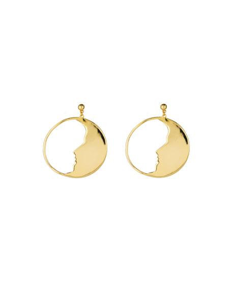Oscar de la Renta Large Moon Hoop Earrings