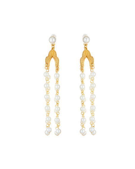 Oscar de la Renta Long Pearly Drop Earrings