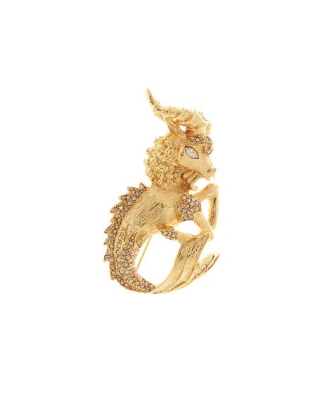 Crystal Ram Brooch, Gold