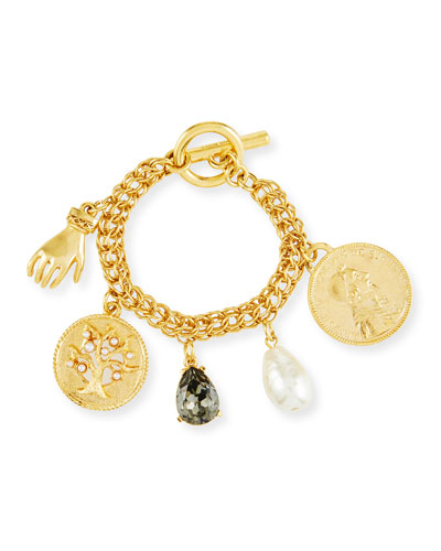 Mixed Talisman Coin Toggle Charm Bracelet