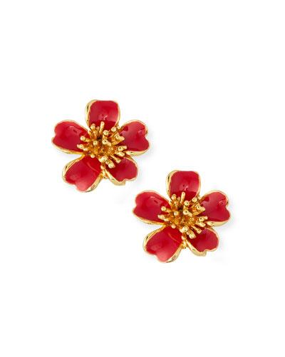Delicate Flower Button Clip-On Earrings