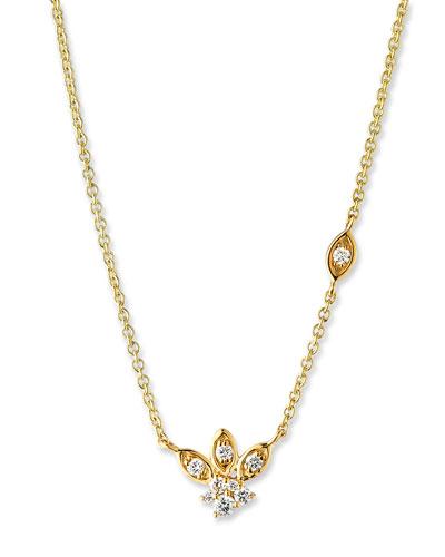 14k Gold Diamond Marquise Petal Pendant Necklace