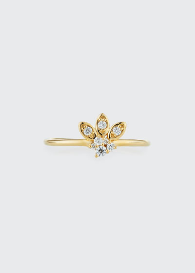 14k Gold Diamond Marquise Petal Ring, Size 6.5