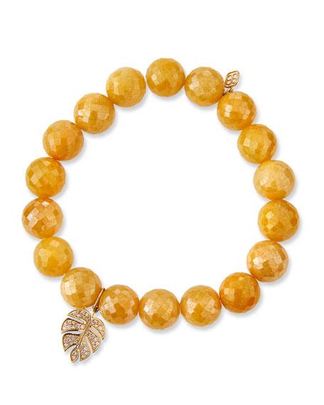 Yellow Silverite & Diamond Monstera Leaf Bracelet