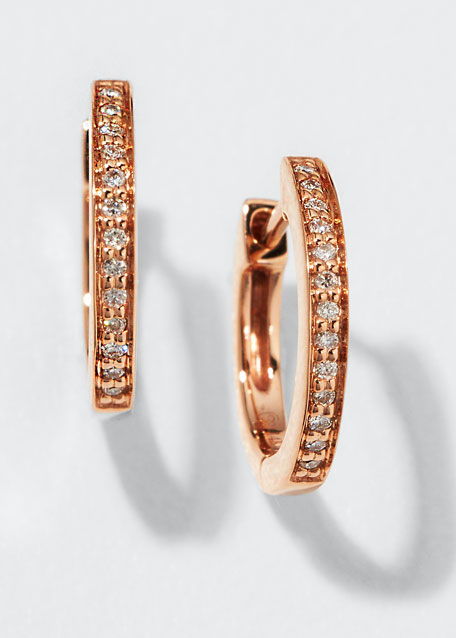 af1f51f4795 14k Rose Gold Diamond Small Huggie Hoop Earrings
