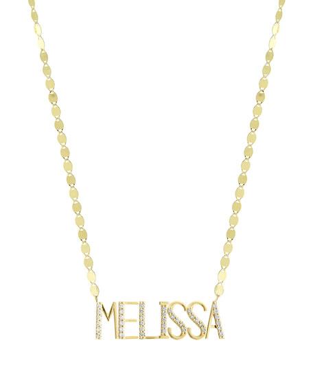 Gold Personalized Seven-Letter Pendant Necklace w/ Diamonds