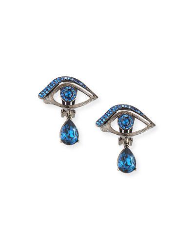 Pave Crystal Eye Earrings