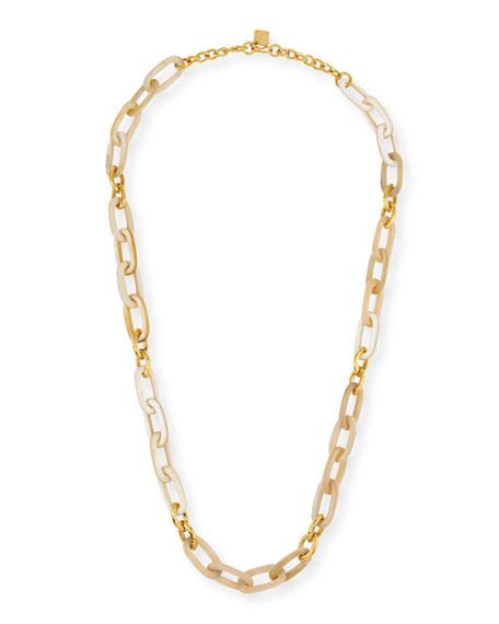 Ashley Pittman Light Horn & Bronze Link Necklace,