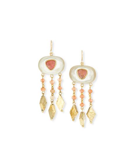 Ashley Pittman Horn & Bronze Dangle Earrings with