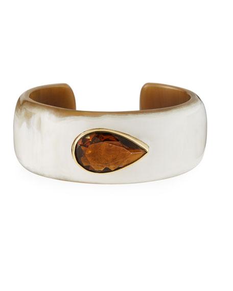6f7ca110f65 Ashley Pittman Horn Cuff Bracelet with Smoky Quartz Teardrop Stone