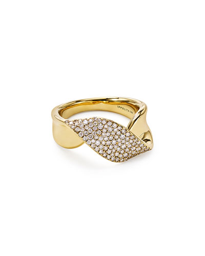 18k Gold Stardust Twist Ribbon Ring w/ Diamonds