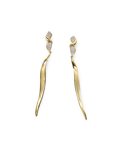 18k Gold Stardust Twist Ribbon Earrings w/ Diamonds