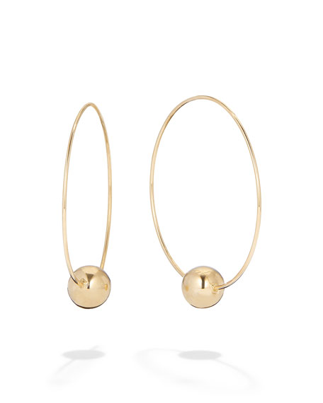 LANA 14k Gold Bead-Base Hoop Earrings