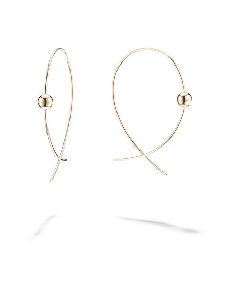 LANA 14k Gold Small Bead Upside-Down Hoop Earrings