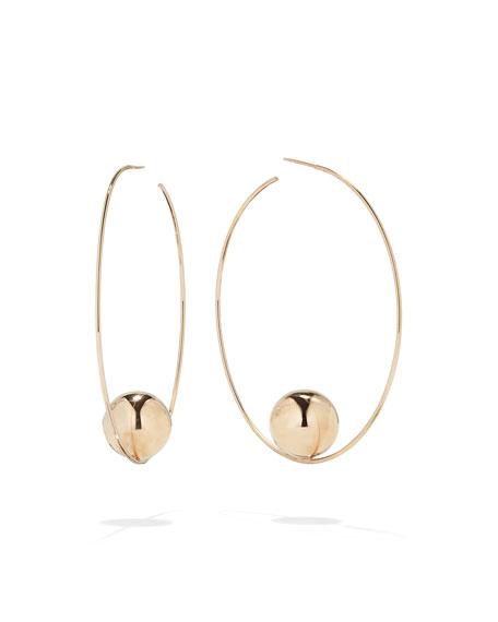 LANA 14k Gold Bead Hoop Earrings, 60mm