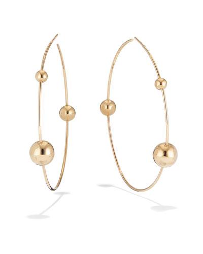 14k Gold 3-Bead Hoop Earrings