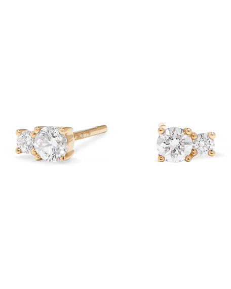 Lana 14K GOLD DOUBLE-DIAMOND STUD EARRINGS