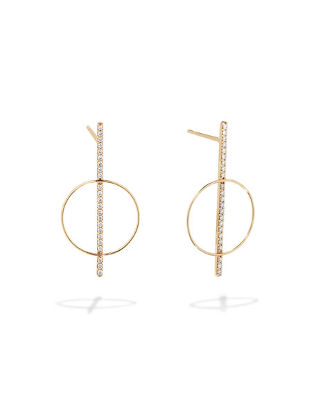 LANA 14k Gold Diamond Bar Hoop Earrings