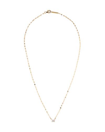 14k Gold Emerald-Cut Diamond Pendant Necklace
