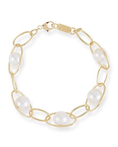 18k Gold Nova Pearl Chain-Link Bracelet