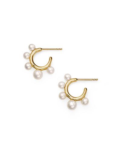 18k Nova Huggie Hoop Earrings, Mother-of-Pearl