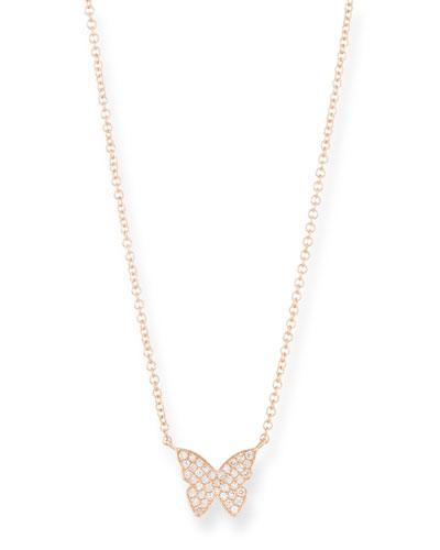 14k Rose Gold Diamond Butterfly Necklace