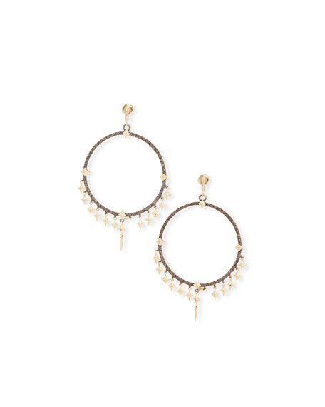 Old World Diamond Crivelli Hoop Earrings with Dagger Charms