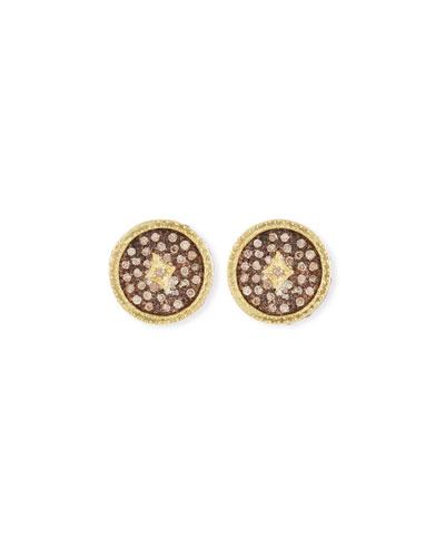 Old World Diamond Pave Stud Earrings