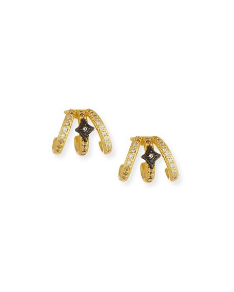 Armenta OLD WORLD TRIPLE-HUGGIE DIAMOND EARRINGS