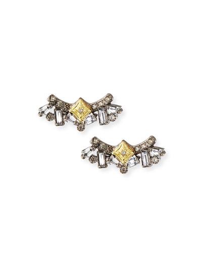 Old World Diamond & Sapphire Cluster Stud Earrings