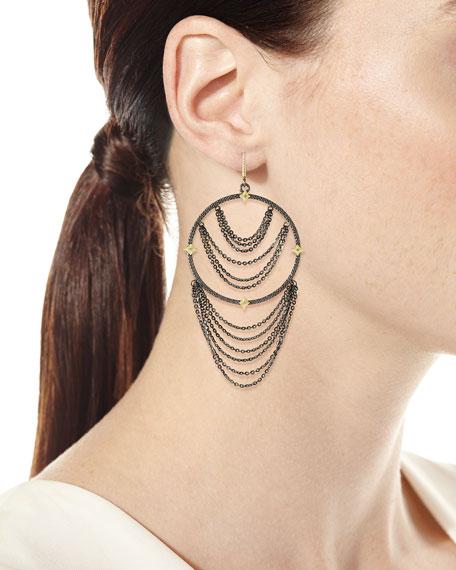 Old World Diamond Hoop Chain Earrings