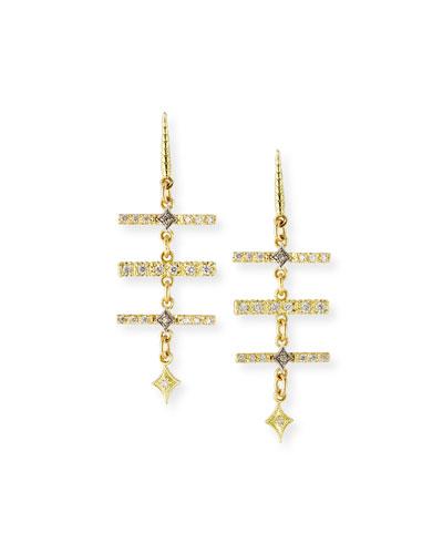 Old World Diamond Triple-Bar Earrings