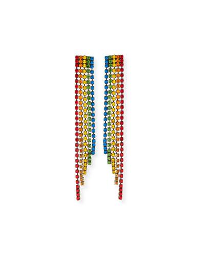 Rainbow Crystal Fringe Earrings