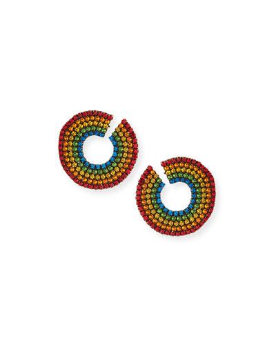 Rainbow Crystal Curler Stud Earrings