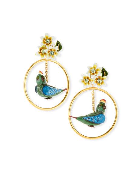 Dolce & Gabbana Crystal Bird-in-Hoop Statement Earrings