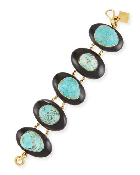 Dark Horn & Turquoise Bracelet