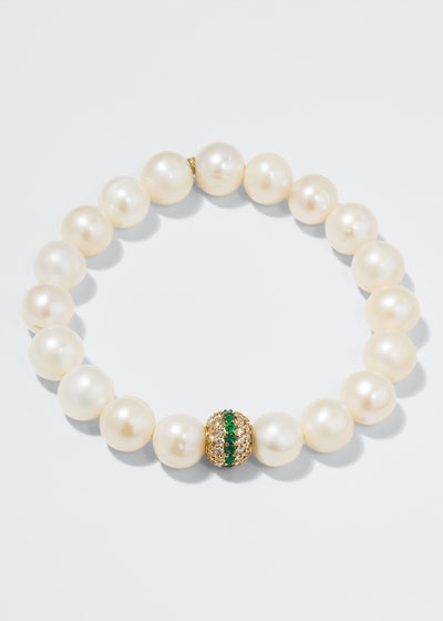 Potato Pearl, Diamond & Emerald Bracelet