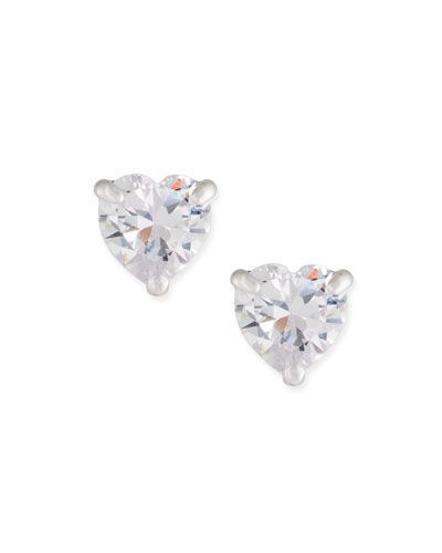 Solitaire Heart Stud Earrings